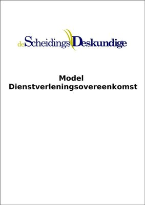 Model Dienstverleningsovereenkomst