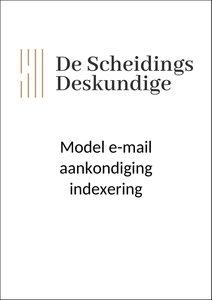Model e-mail aankondiging indexering